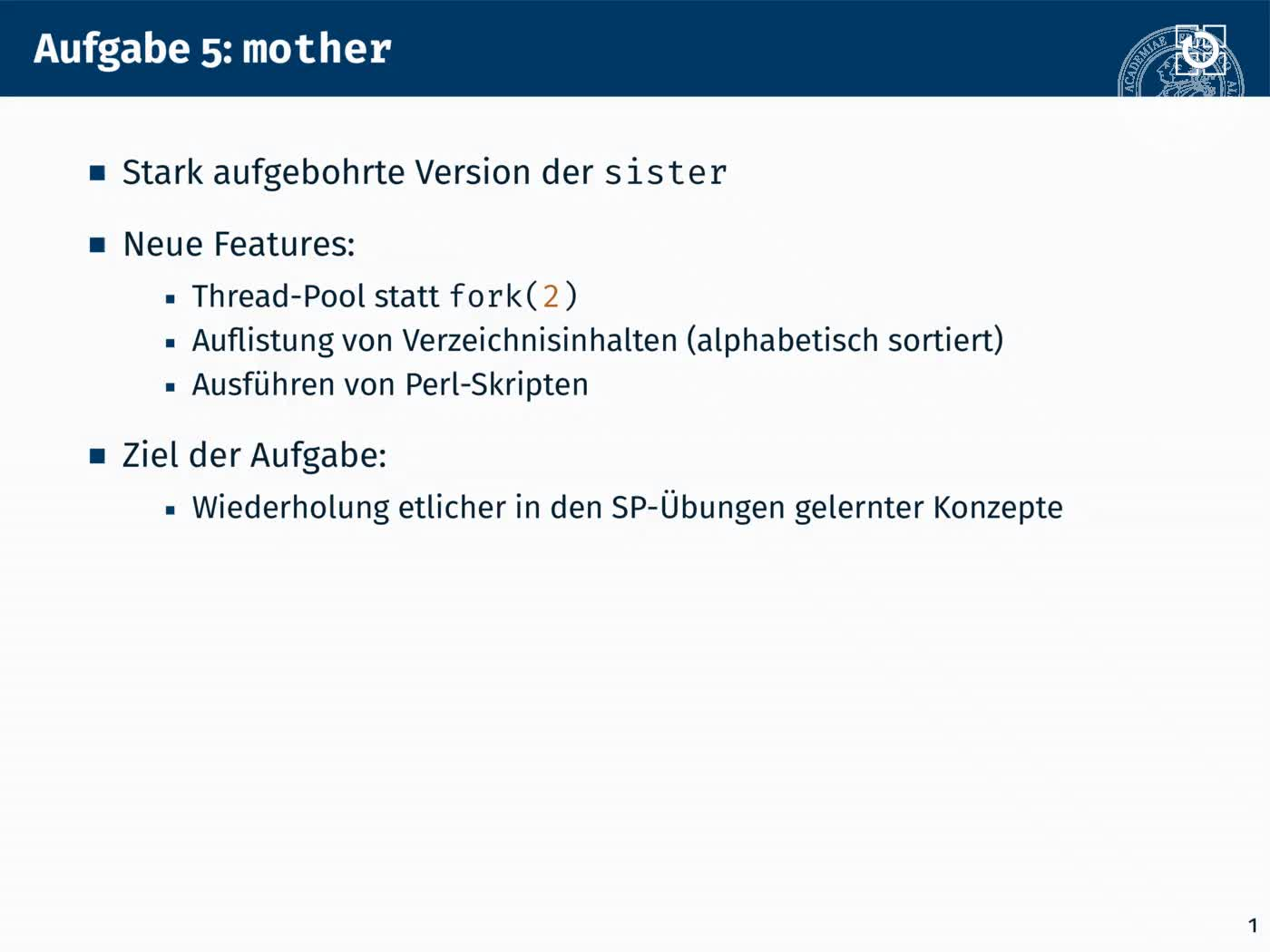 6.3 Mehrfädige Programme: mother preview image