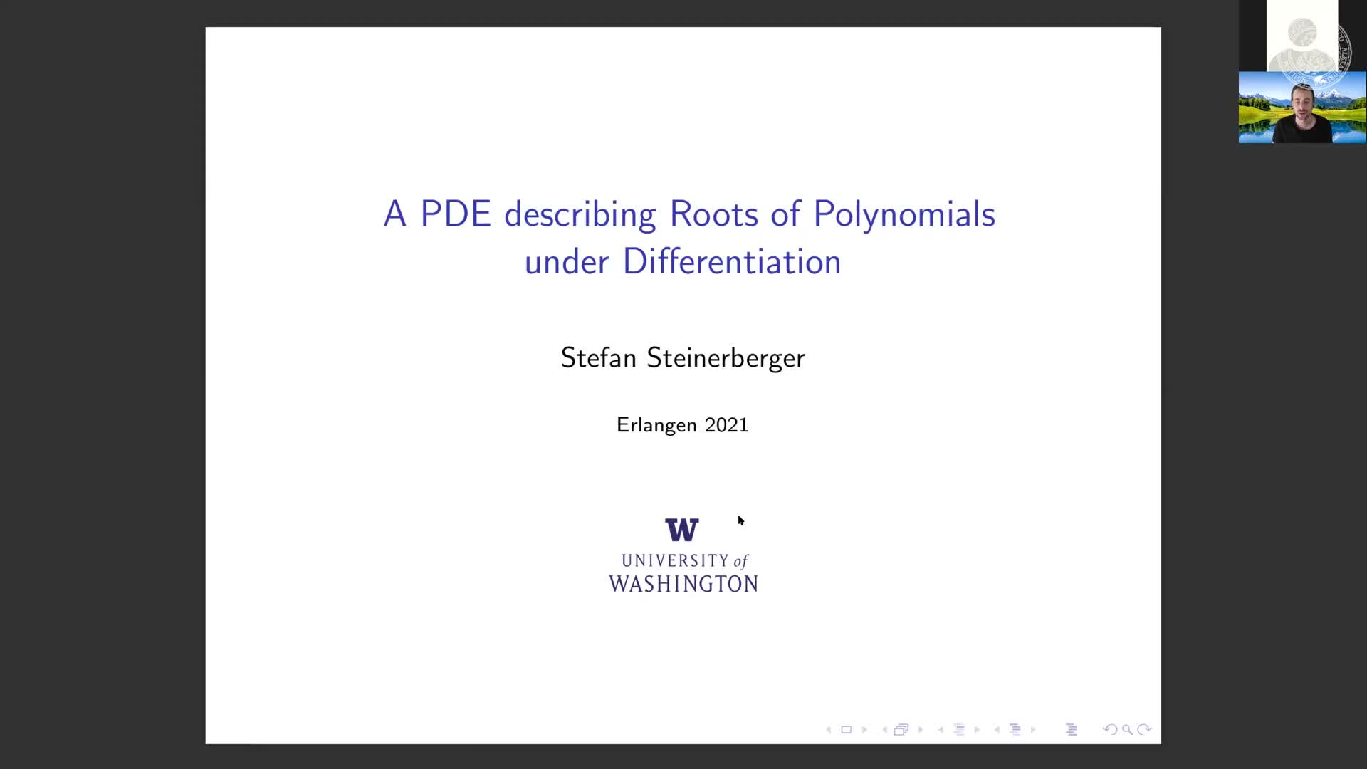 A PDE describing Roots of Polynomials under Differentiation (Stefan Steinerberger, University of Washington) preview image