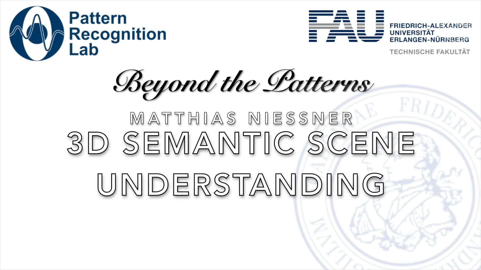 Beyond the Patterns - Matthias Niessner - 3D Semantic Scene Understanding preview image