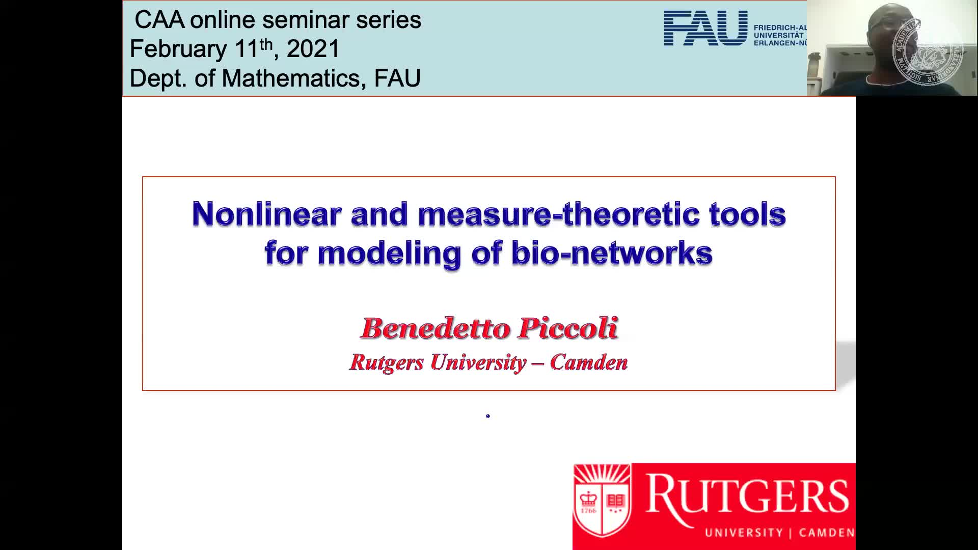 Nonlinear and measure-theoretic methods for large biological networks (Benedetto Piccoli, Rutgers University, USA) preview image