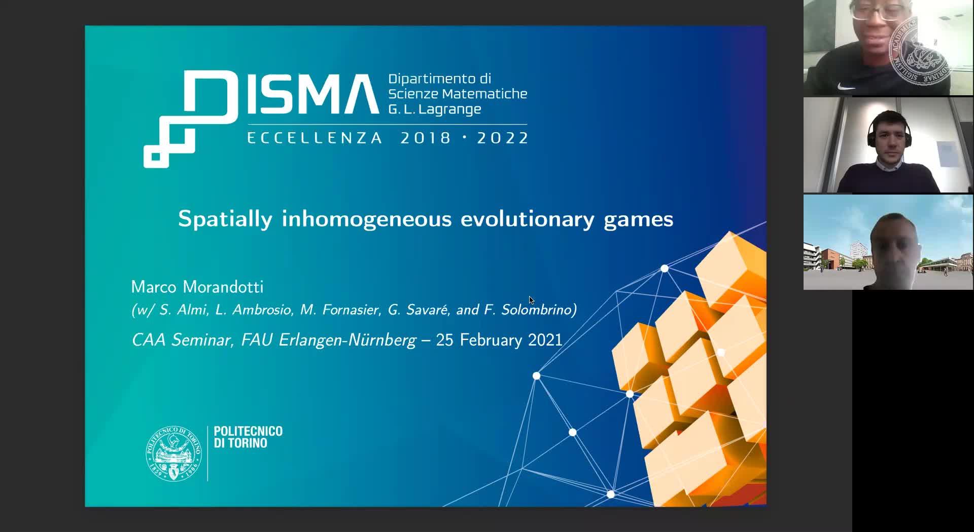Spatially inhomogeneous evolutionary games (M. Morandotti, Politecnico di Torino preview image