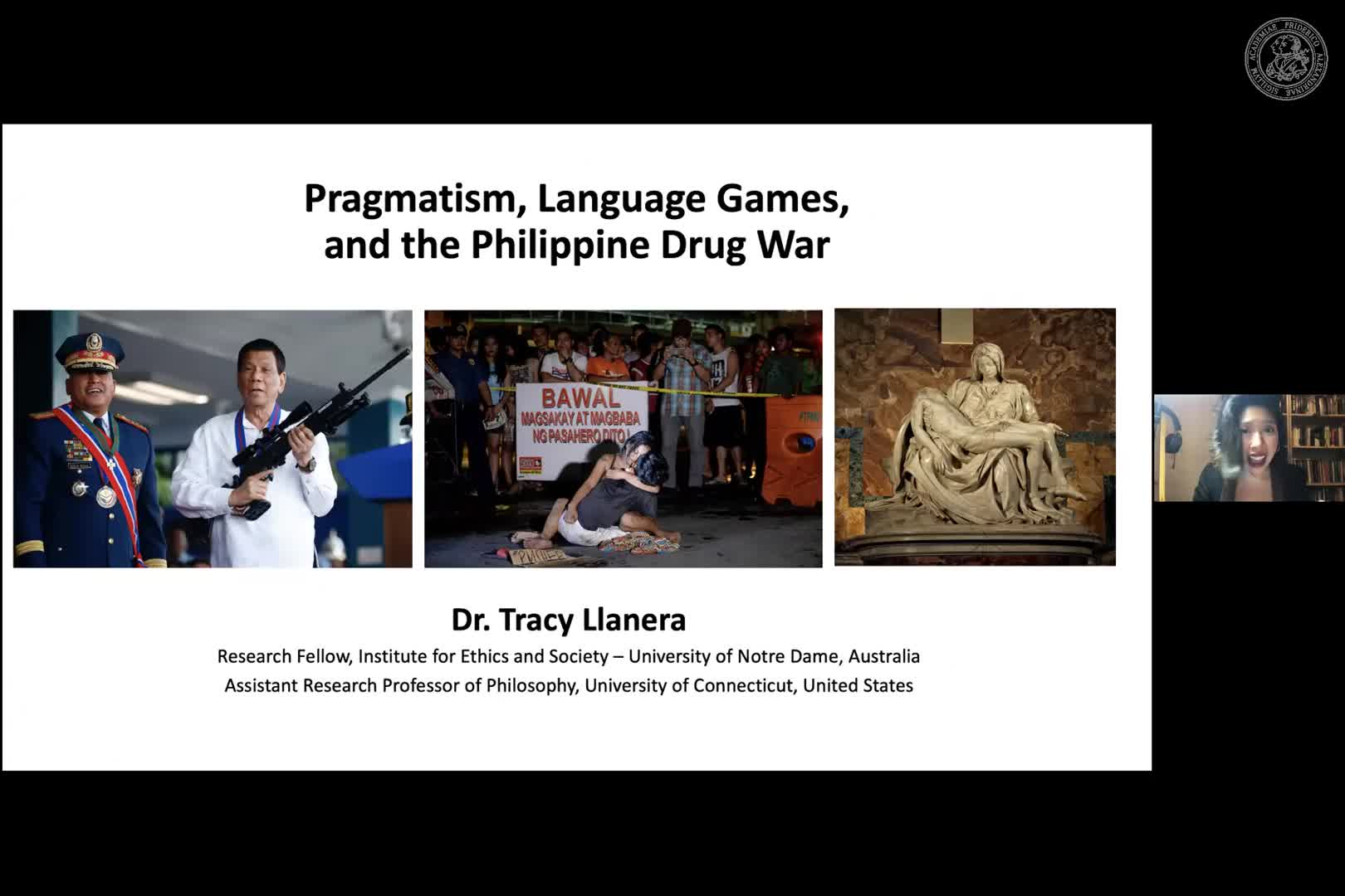 """Tracy Llanera (University of Connecticut): """"Pragmatism, Language Games, and the Philippine Drug War"""" preview image"""