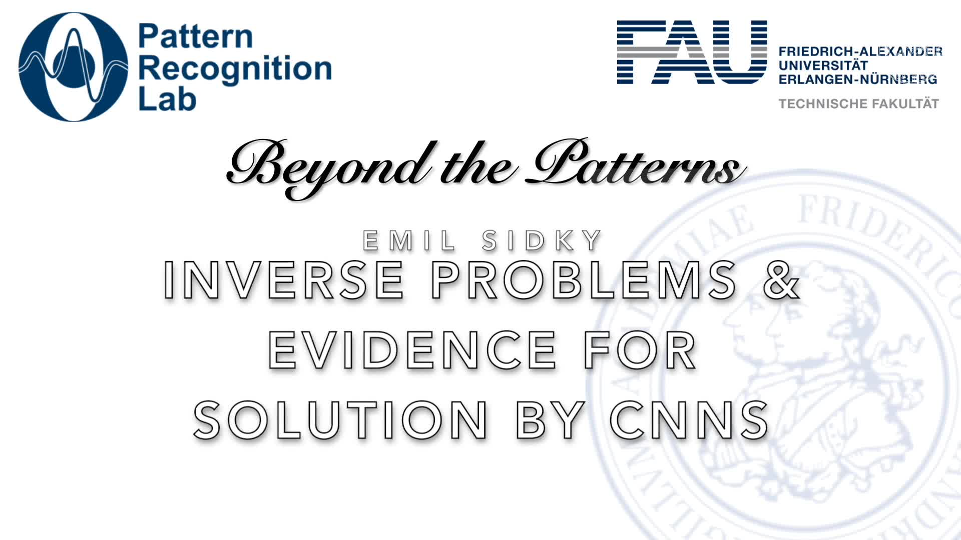 Beyond the Patterns - Emil Sidky - Inverse problems in imaging and evidence for solution by convolutional neural networks preview image