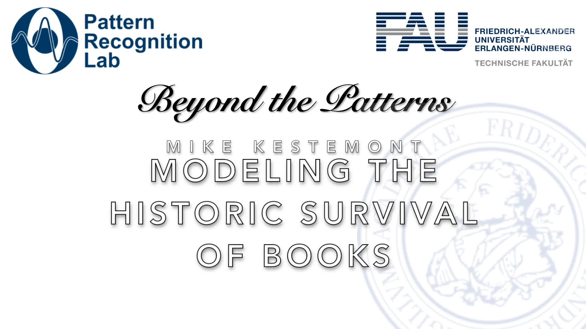 Beyond the Patterns - Dr. Mike Kestemont - Ecology and Cultural Heritage: Modelling the Historic Survival of Books and Authors with Unseen Species Models preview image