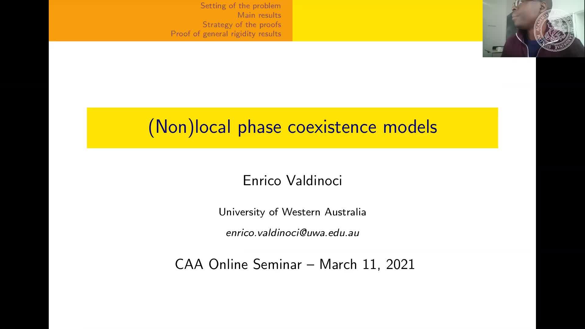 (Non)local phase coexistence models (E. Valdinoci, The University of Western Australia, Australia) preview image