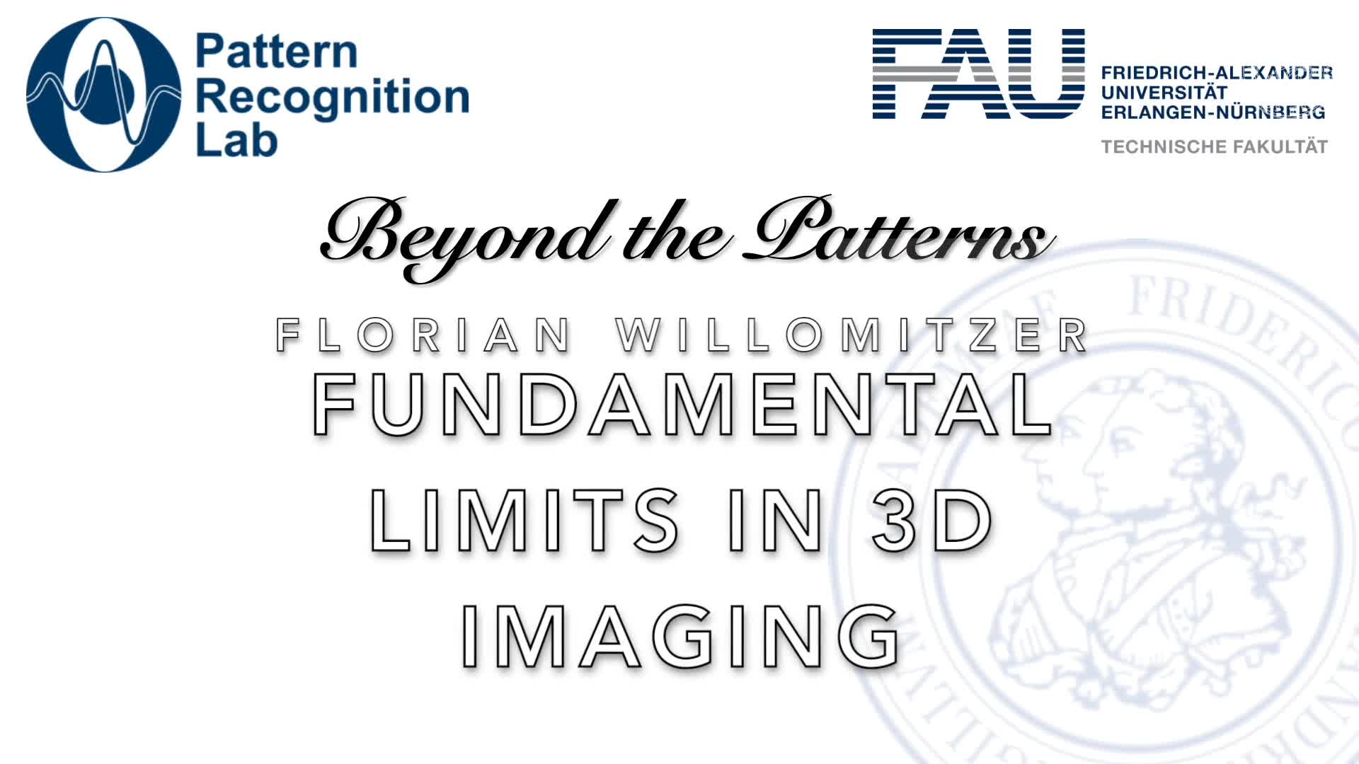 Beyond the Patterns - Florian Willomitzer - Fundamental Limits in Computational 3D Imaging: From Novel 3D Cameras to Looking around Corners preview image