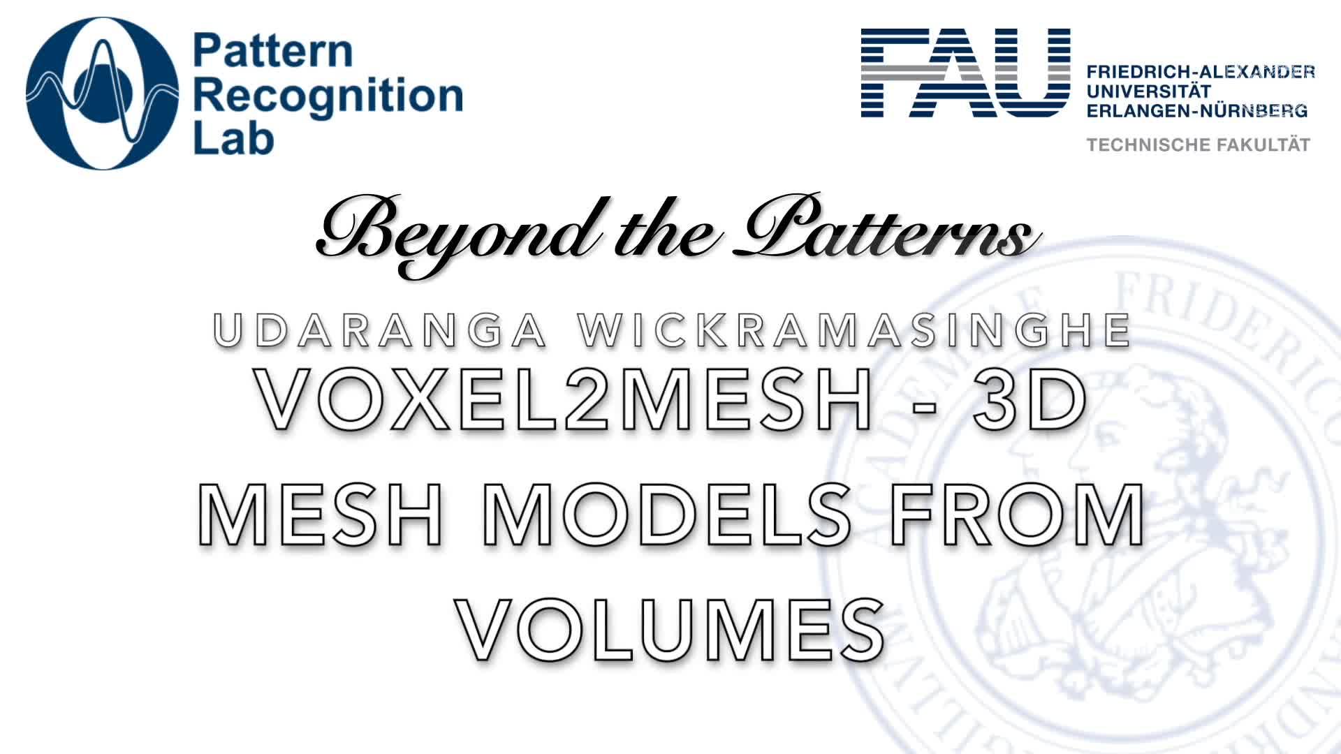 Beyond the Patterns - Udaranga Wickramasinghe - Voxel2Mesh: 3D Mesh Model Generation from Volumetric Data preview image