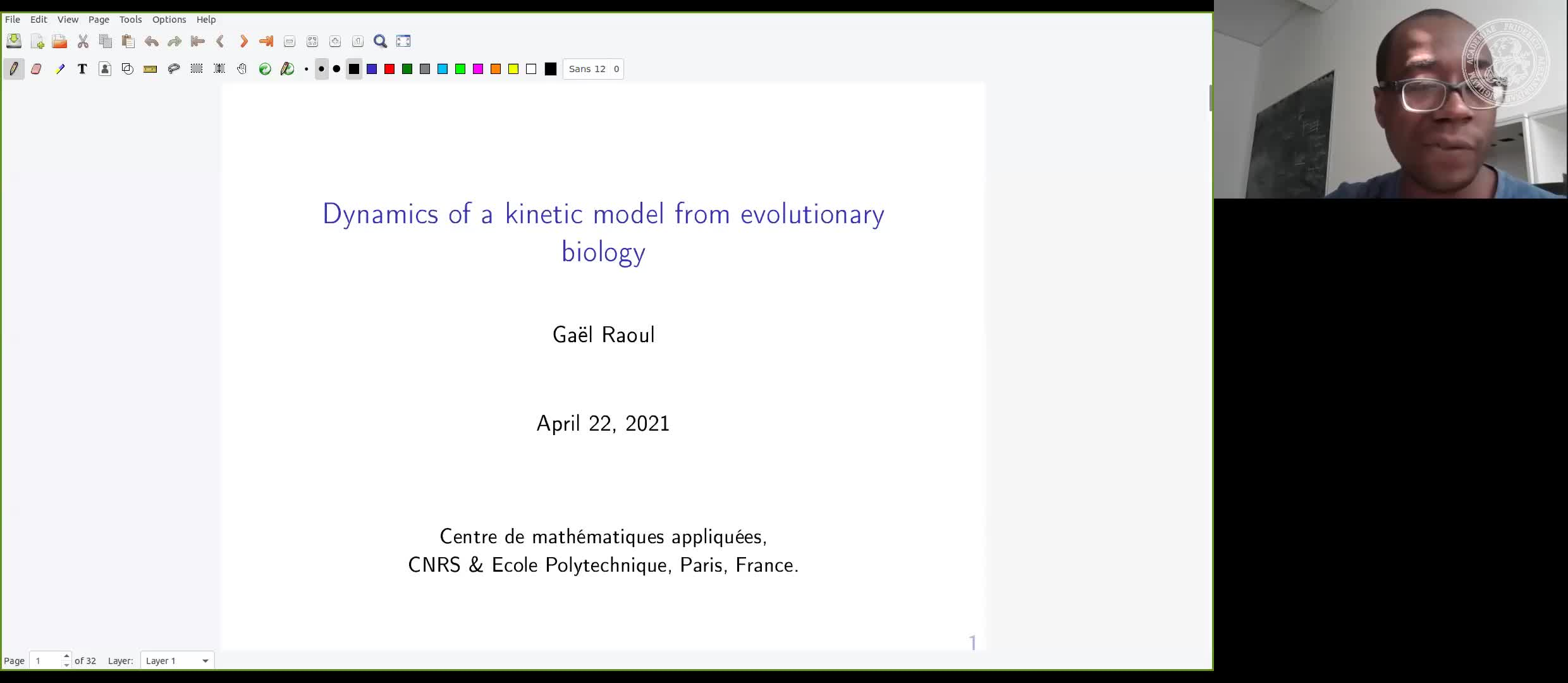 Dynamics of a kinetic model from evolutionary biology (G. Raoul, Ecole Polytechnique Paris, France) preview image