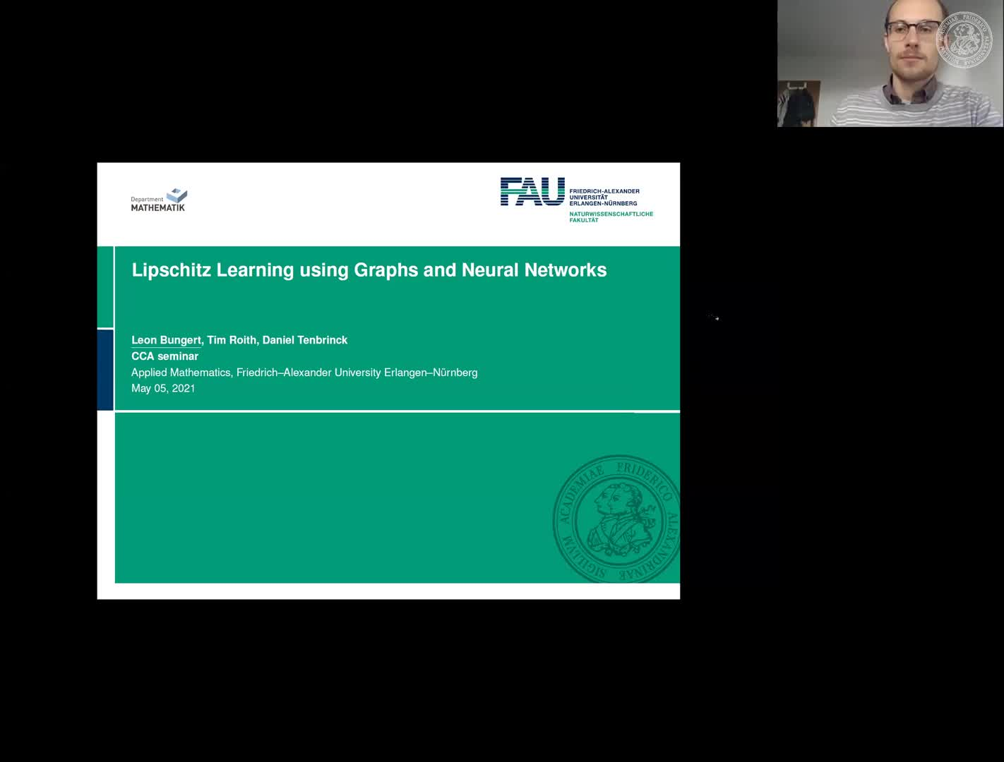 Lipschitz Learning using Graphs and Neural Networks (L. Bungert , FAU, Germany ) preview image