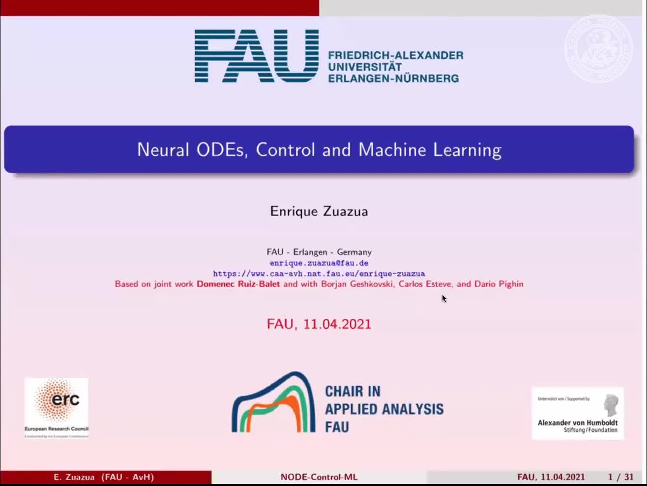 Neural Differential Equations, Control and Machine Learning preview image