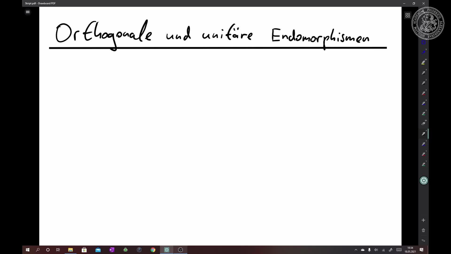 Eigenschaften von orthogonalen und unitären Endomorphismen preview image
