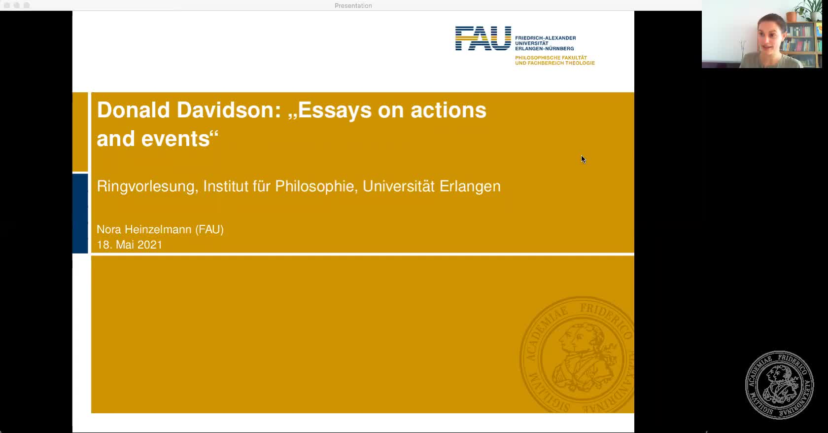 Nora Heinzelmann: Davidson, Essays on Actions and Events preview image