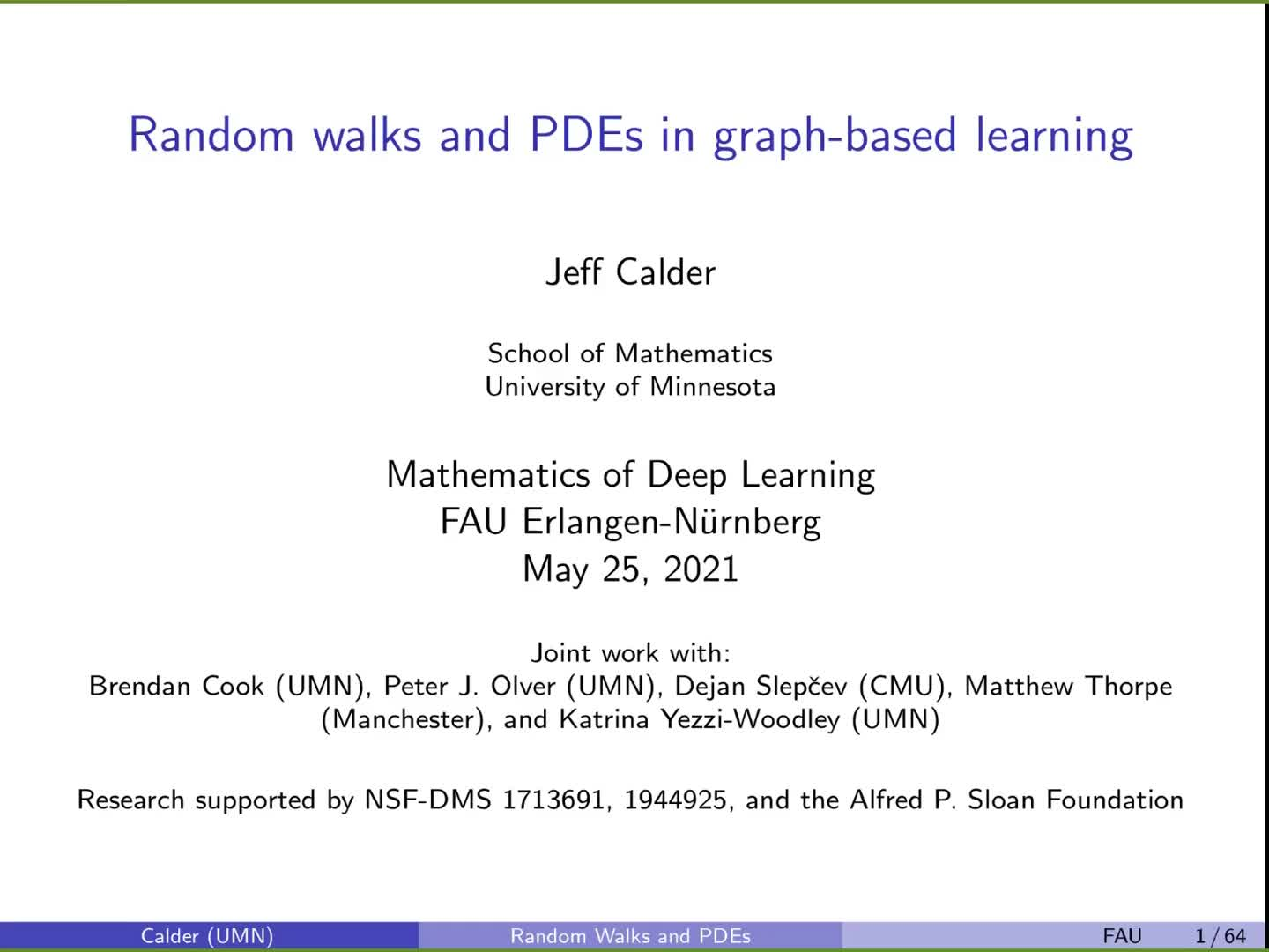 Random walks and PDEs in graph-based learning preview image