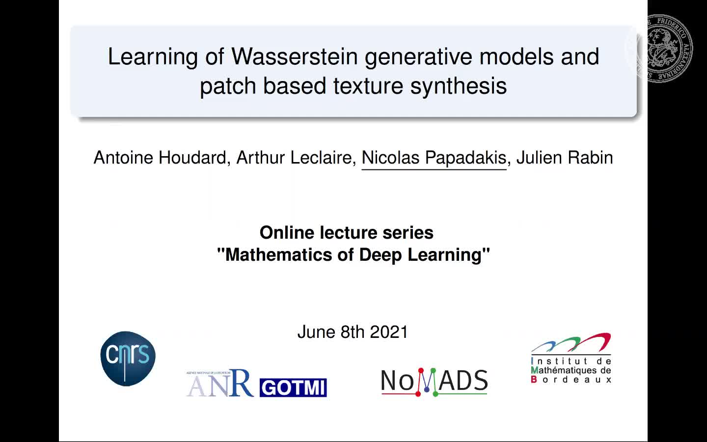 Learning of Wasserstein Generative Models and Patch-based Texture Synthesis preview image