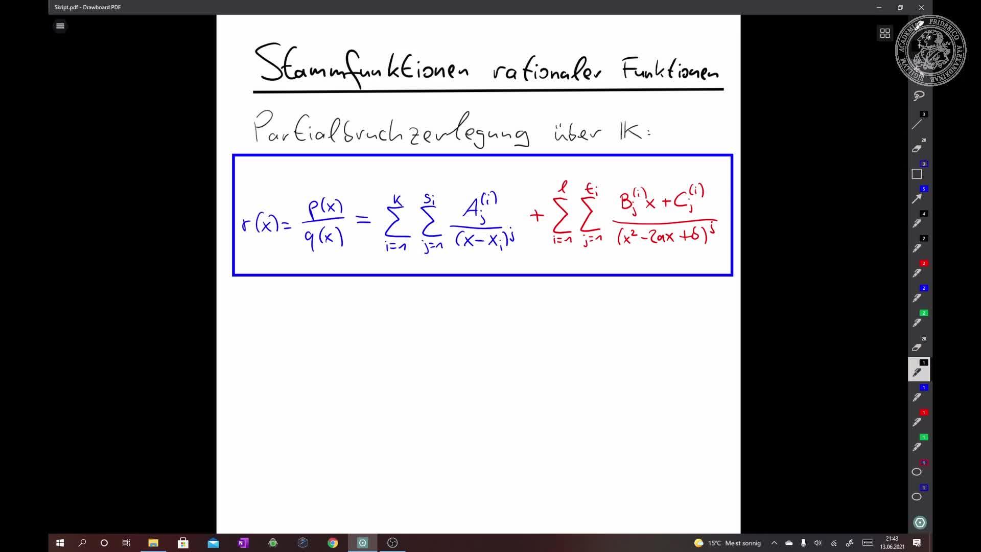 Stammfunktionen rationaler Funktionen preview image