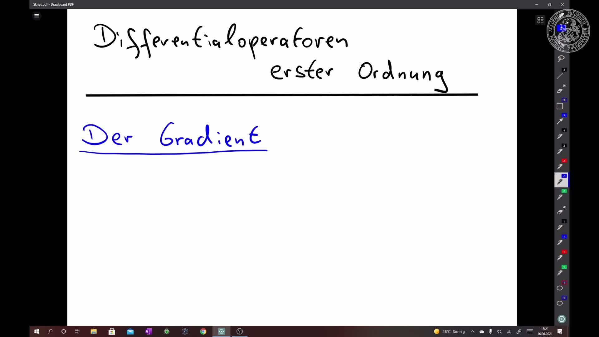 Der Gradient einer reellwertigen Funktion preview image