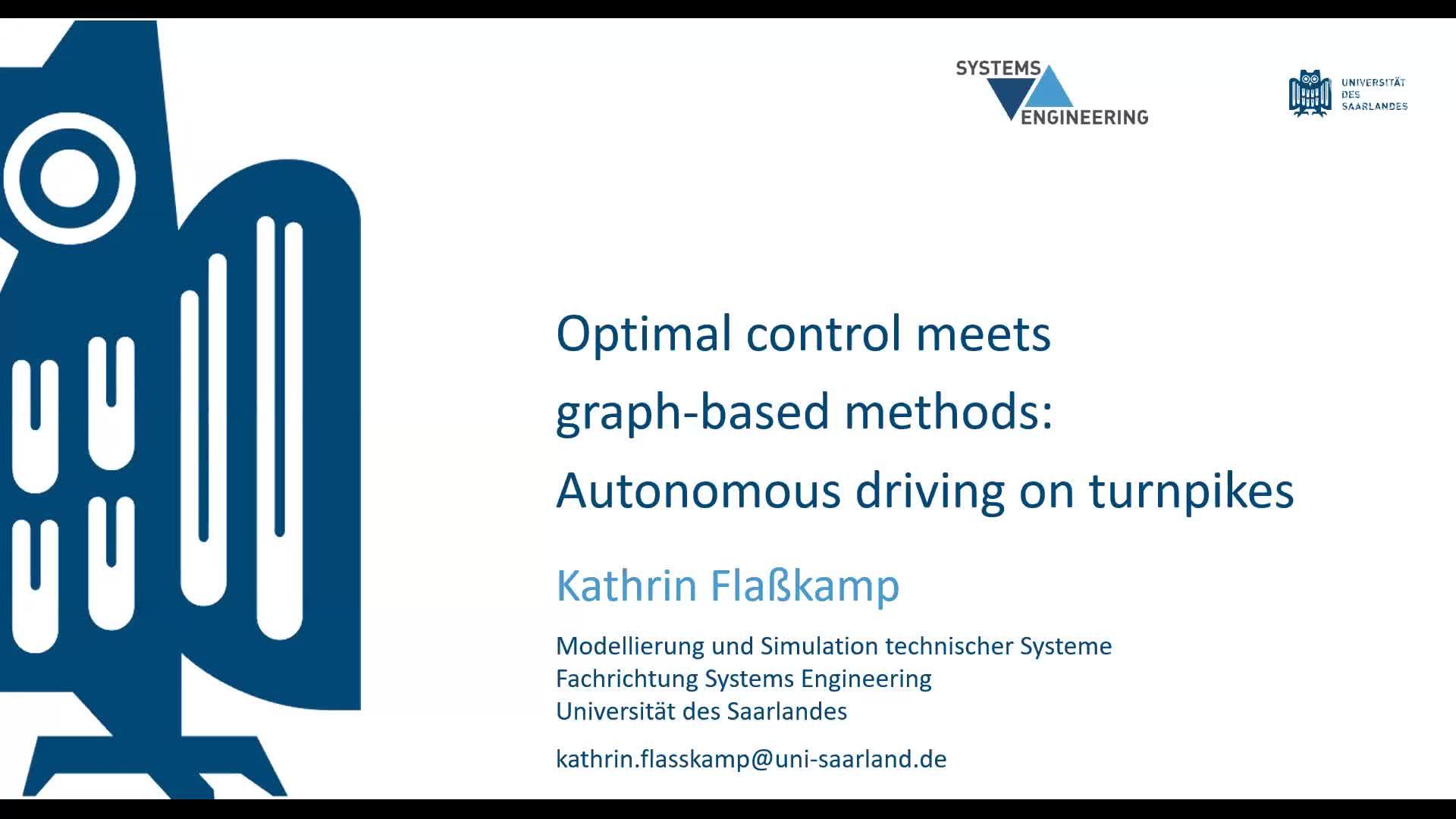 Optimal control meets graph-based methods: Autonomous driving on turnpikes (K. Flaßkamp) preview image