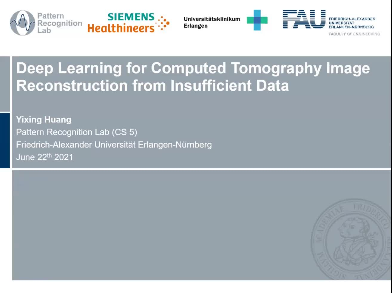 Deep Learning for Computed Tomography Image Reconstruction from Insufficient Data preview image