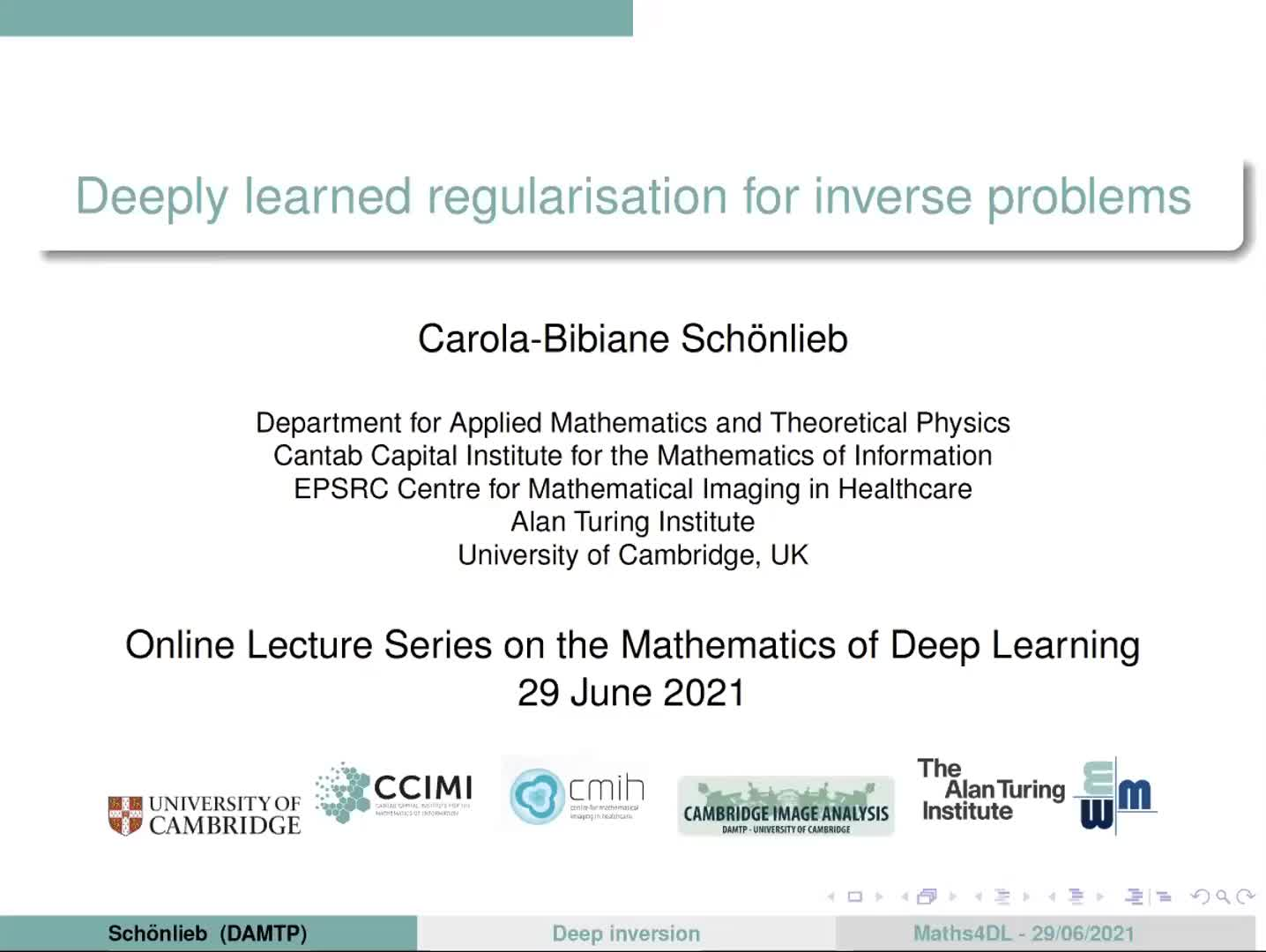 Deeply learned regularisation for inverse problems preview image