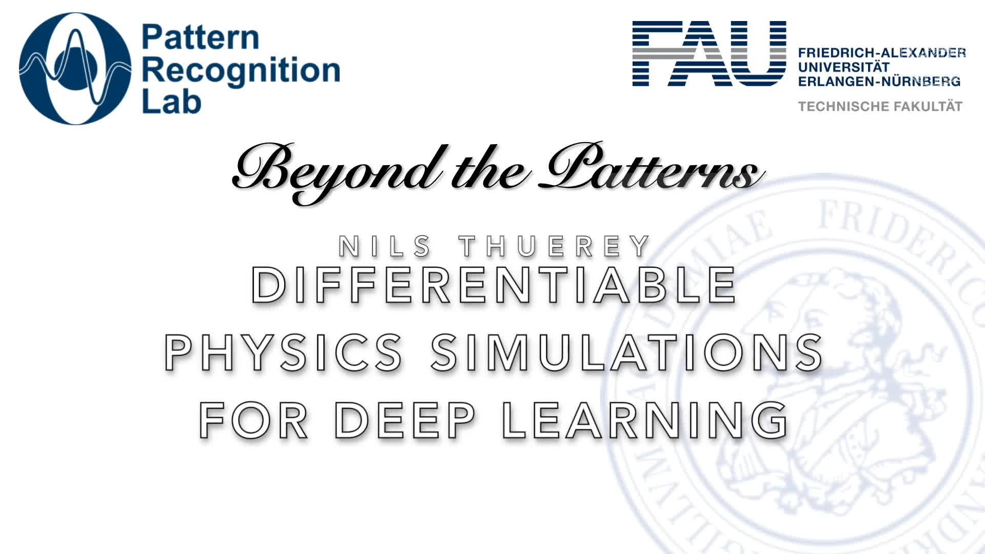 Beyond the Patterns - Nils Thuerey – Differentiable Physics Simulations for Deep Learning preview image
