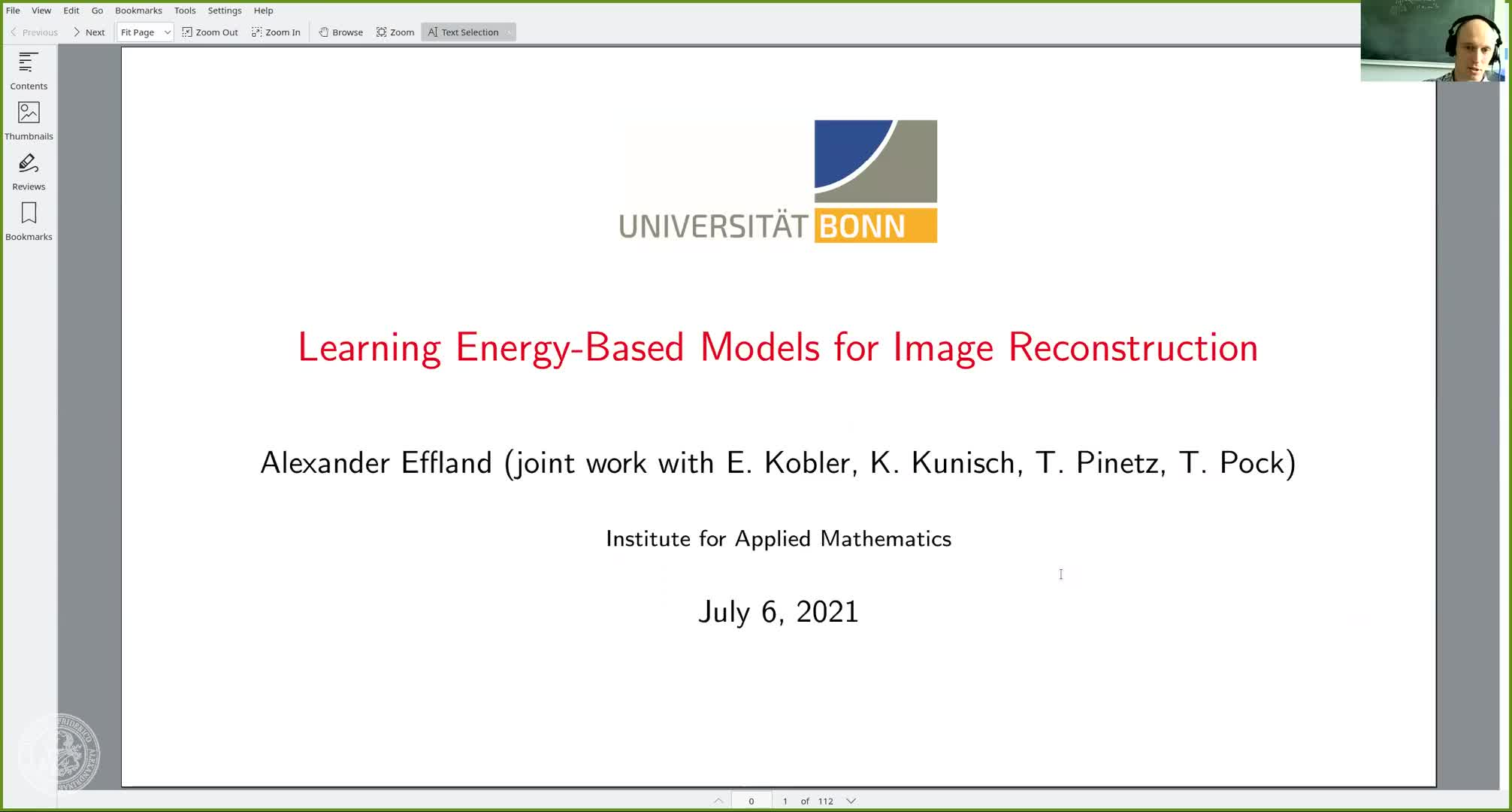Learning Energy-Based Models for Image Reconstruction (A. Effland, University of Bonn, Germany) preview image
