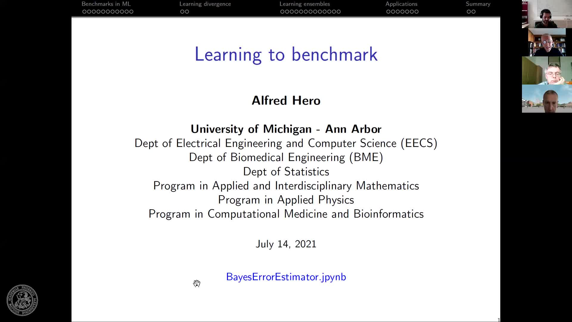 Learning to benchmark (A. Hero, University of Michigan, USA) preview image