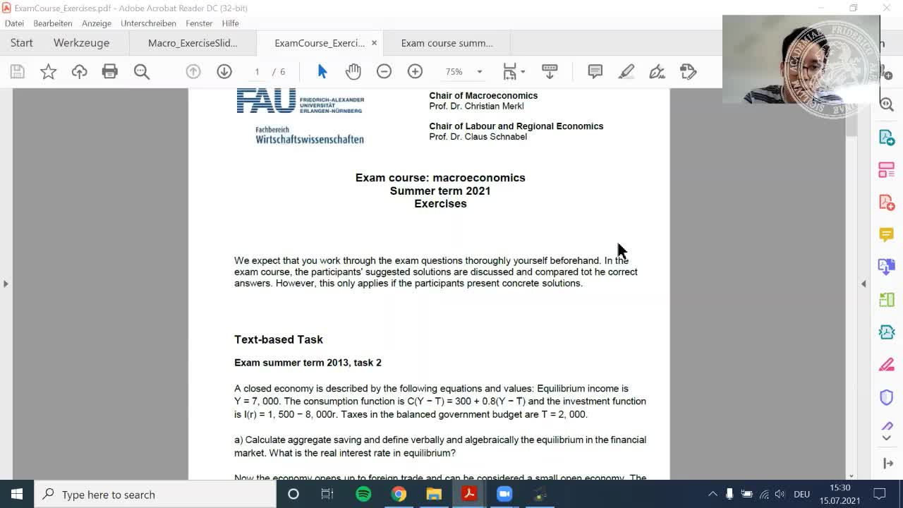 Macroeconomics Exam Course (Bachelor, SS 2021) preview image
