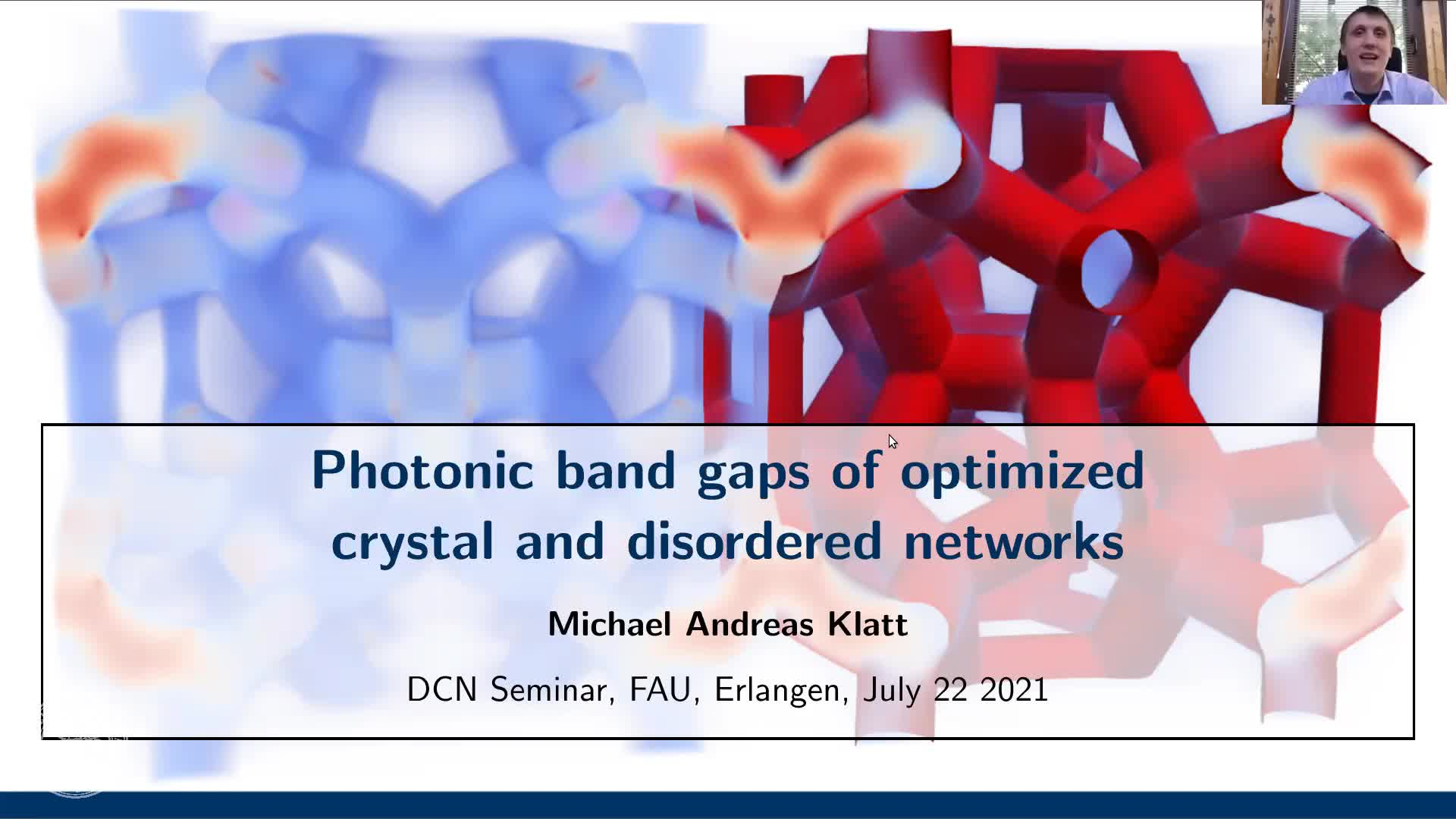 Photonic band gaps of optimized crystal and disordered networks (M. Klatt, FAU, Germany) preview image
