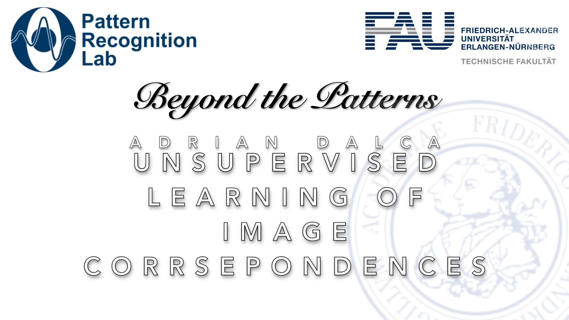 Beyond the Patterns - Adrian Dalca - Unsupervised Learning of Image Correspondences in Medical Image Analysis preview image