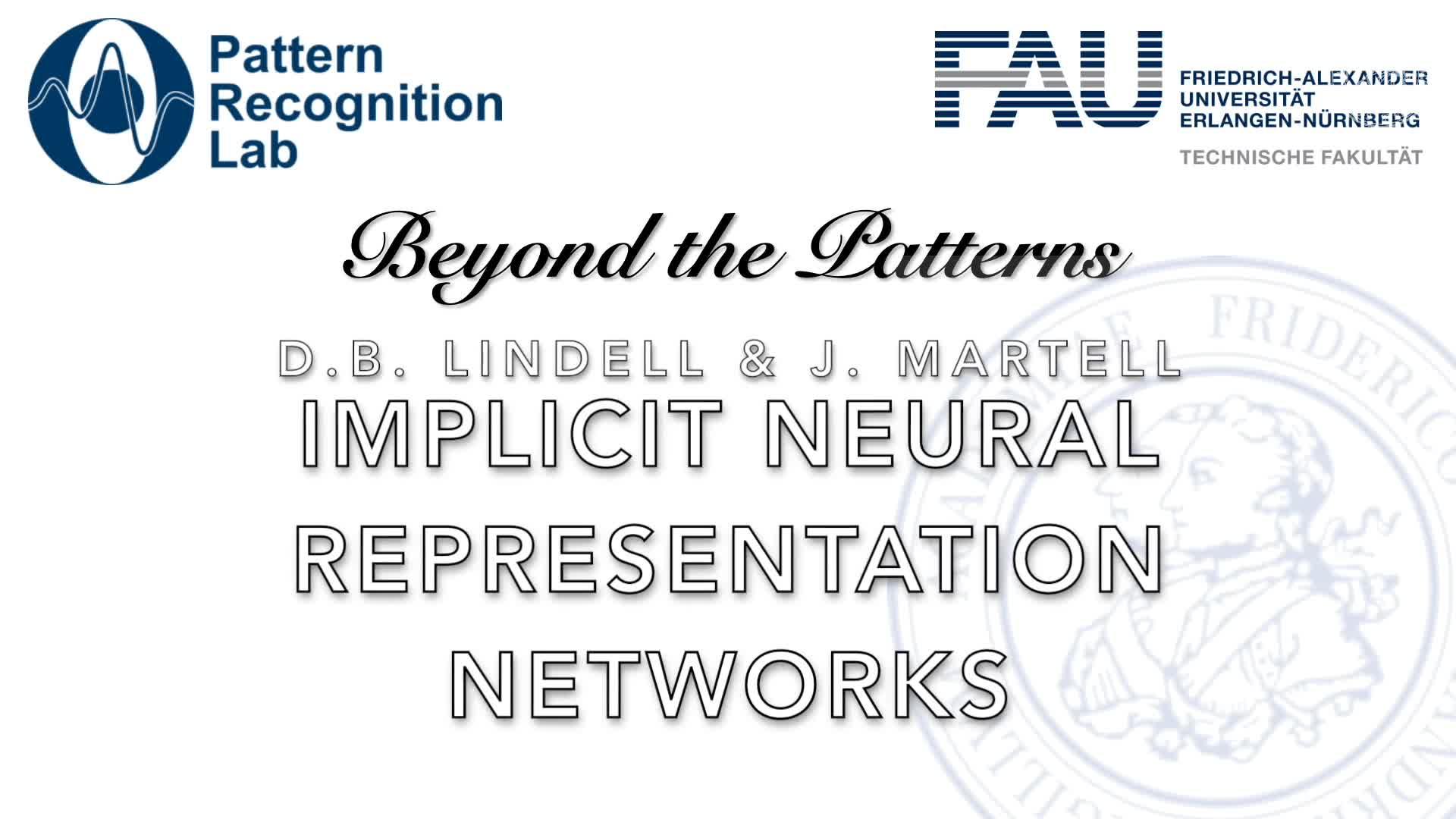 Beyond the Patterns - David B. Lindell & Julien Martel (Stanford U): Implicit Neural Representation Networks for Fitting Signals, Derivatives, and Integrals preview image