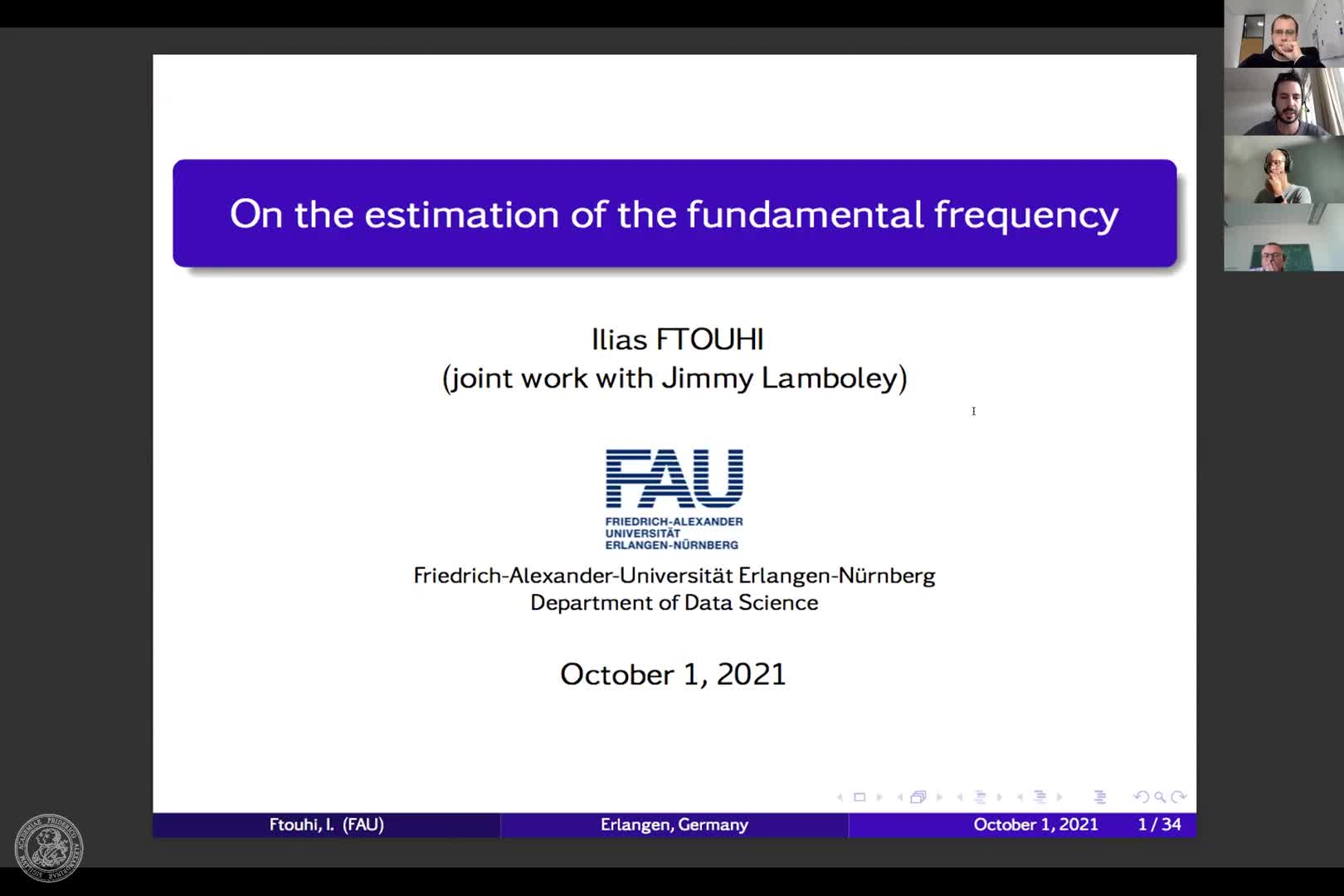 On the estimation of fundamental frequency (I. Ftouhi, FAU)) preview image