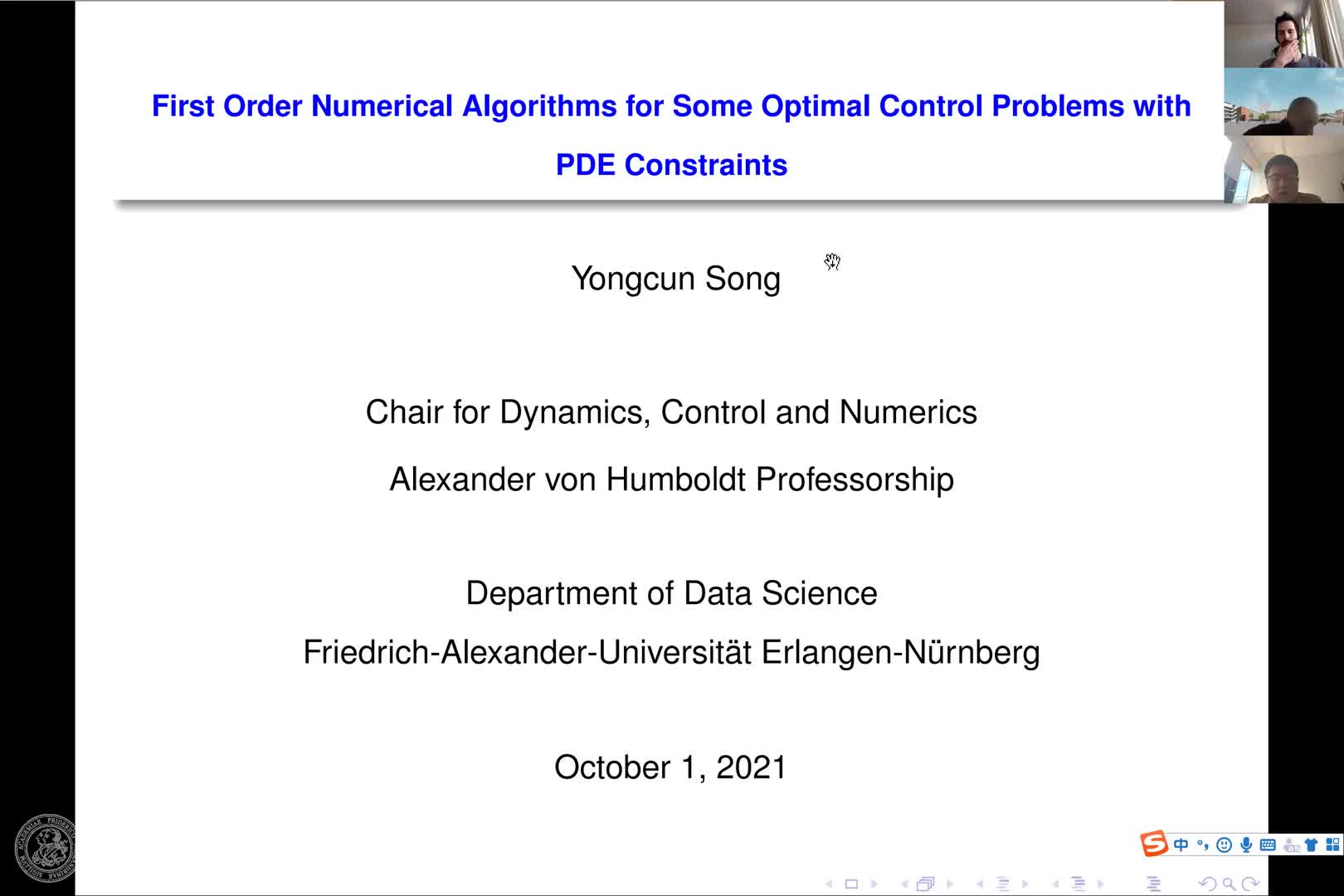 First order numerical algorithms for some optimal control problems with PDE constraints (Y. Song, FAU) preview image