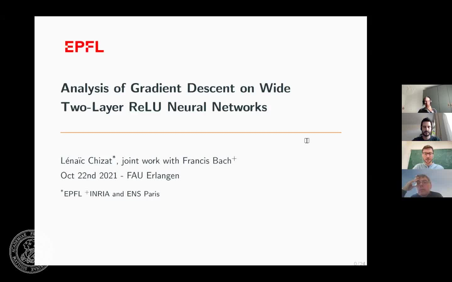 Analysis of gradient descent on wide two-layer ReLU neural networks (L. Chizat, EPFL Lausanne) preview image