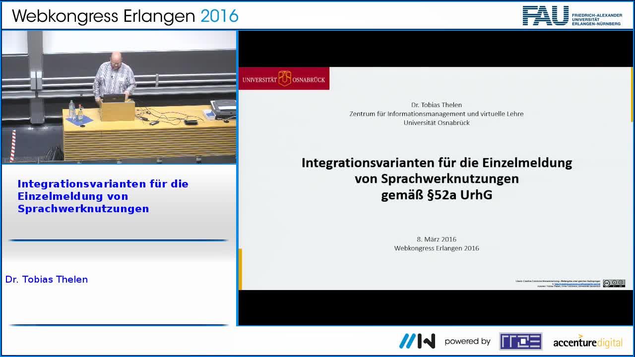 Integrationsvarianten für die Einzelmeldung von Sprachwerknutzungen gemäß §52a UrhG preview image
