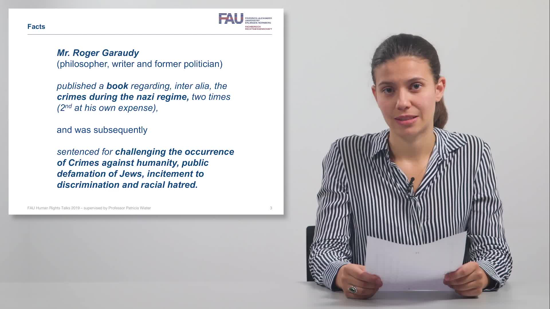FAU Human Rights Talks – Summer Term 2019: Garaudy v. France preview image