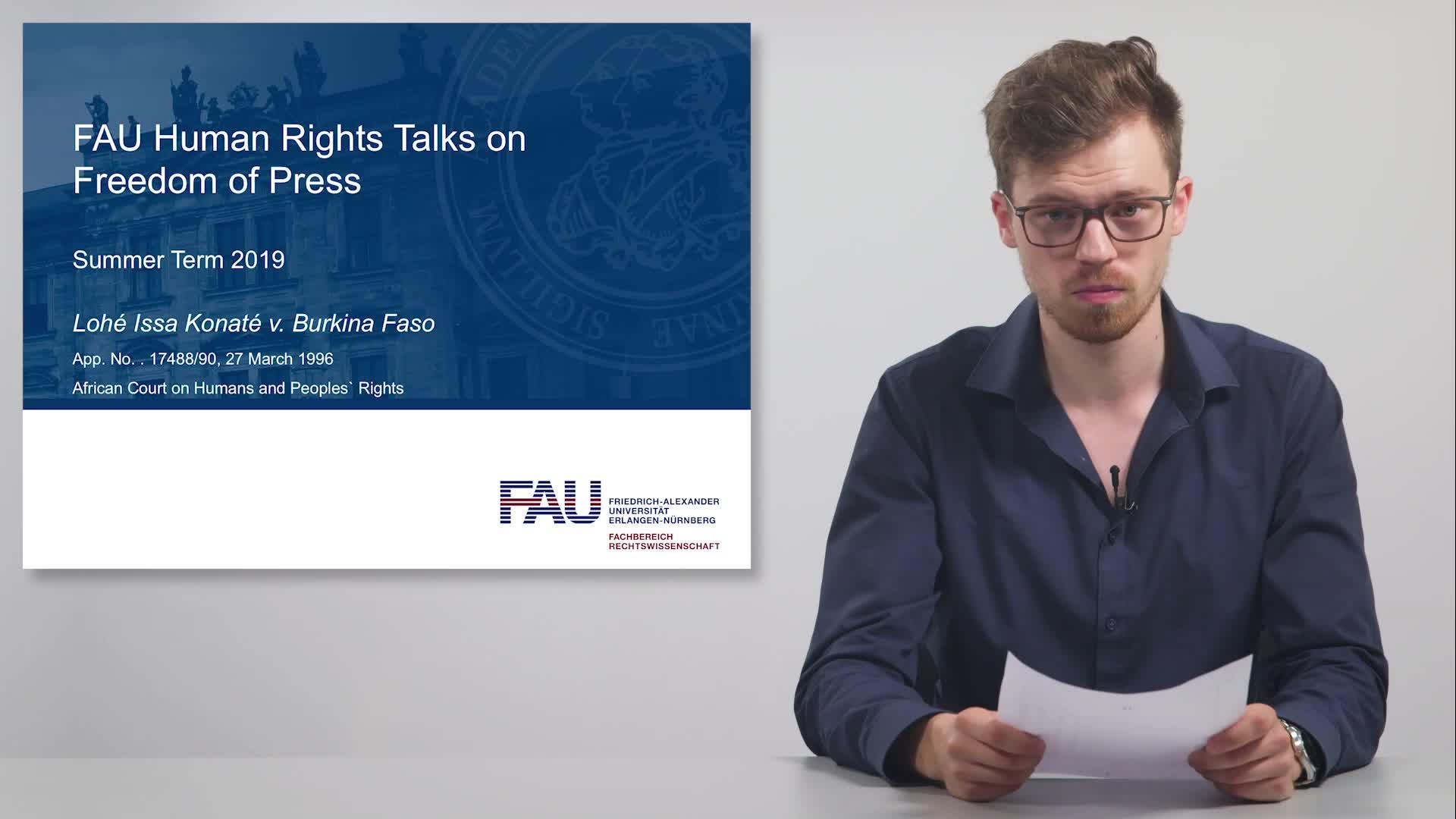 FAU Human Rights Talks – Summer Term 2019: Lohé Issa Konaté v. Burkina Faso preview image