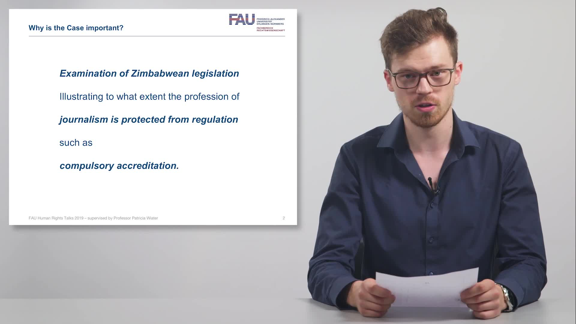FAU Human Rights Talks – Summer Term 2019: Scanlen & Holderness v. Zimbabwe preview image