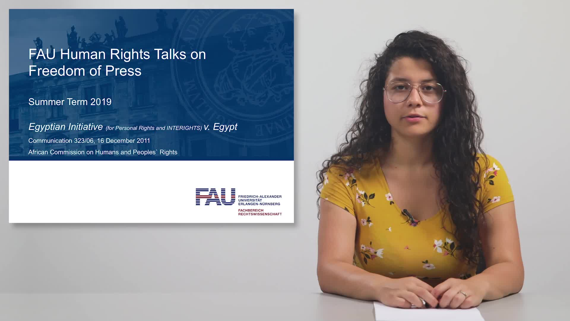 FAU Human Rights Talks – Summer Term 2019: Egyptian Initiative (for Personal Rights and INTERIGHTS) v. Egypt preview image