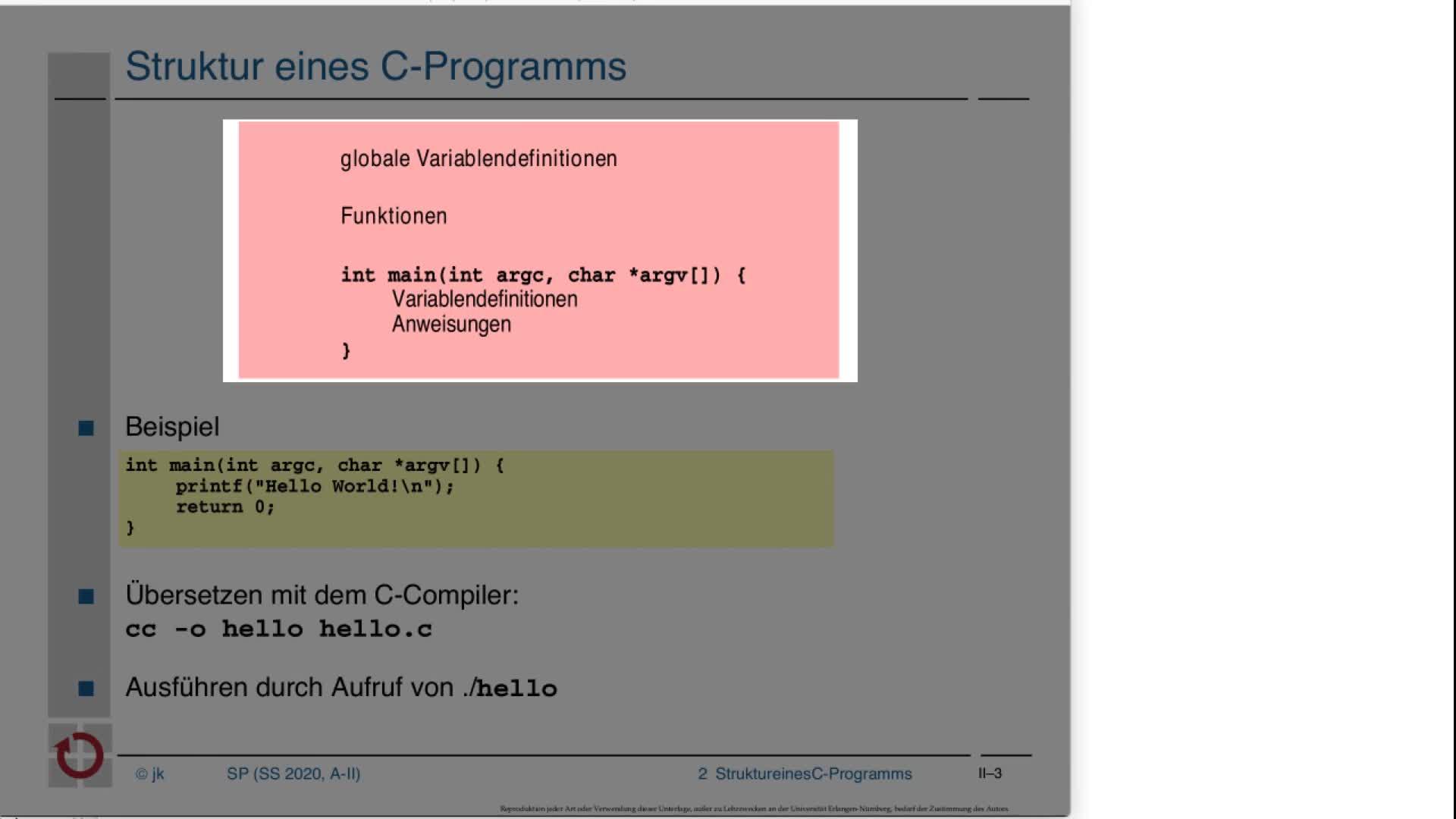 2.1.3 C-Kurzeinführung: Progammstruktur, Datentypen und Variablen preview image