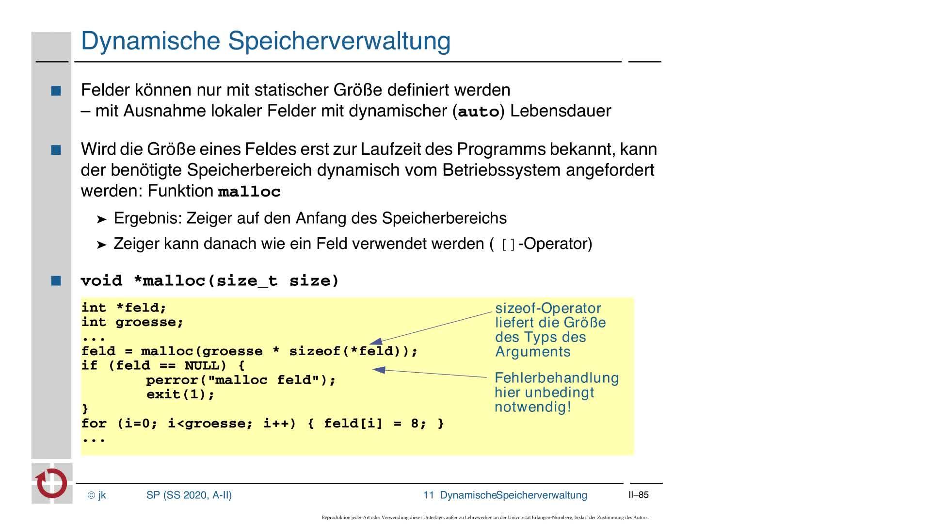 2.4.2 C-Kurzeinführung: Dynamische Speicherverwaltung, sizeof-Operator, Cast-Operator preview image