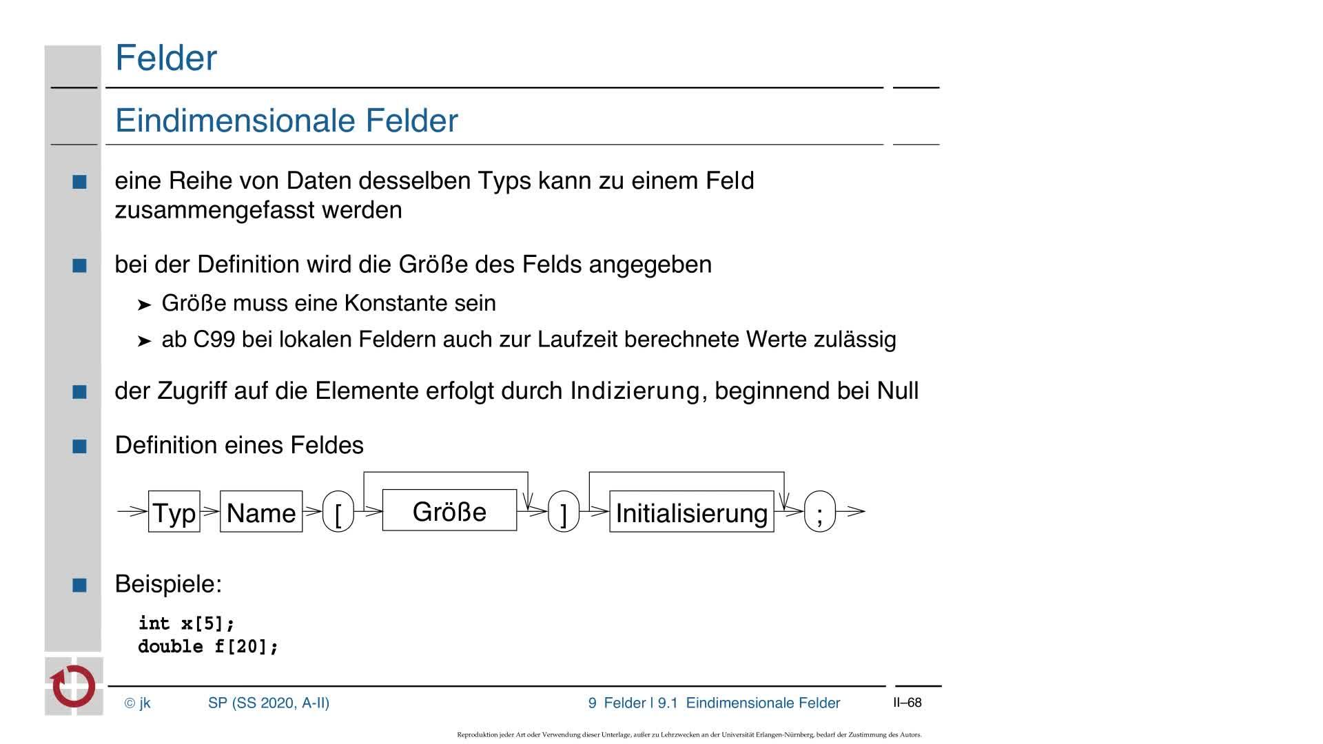 2.4.1 C-Kurzeinführung: Felder, Zeiger und Felder, Zeigerarithmetik, Mehrdimensionale Felder preview image