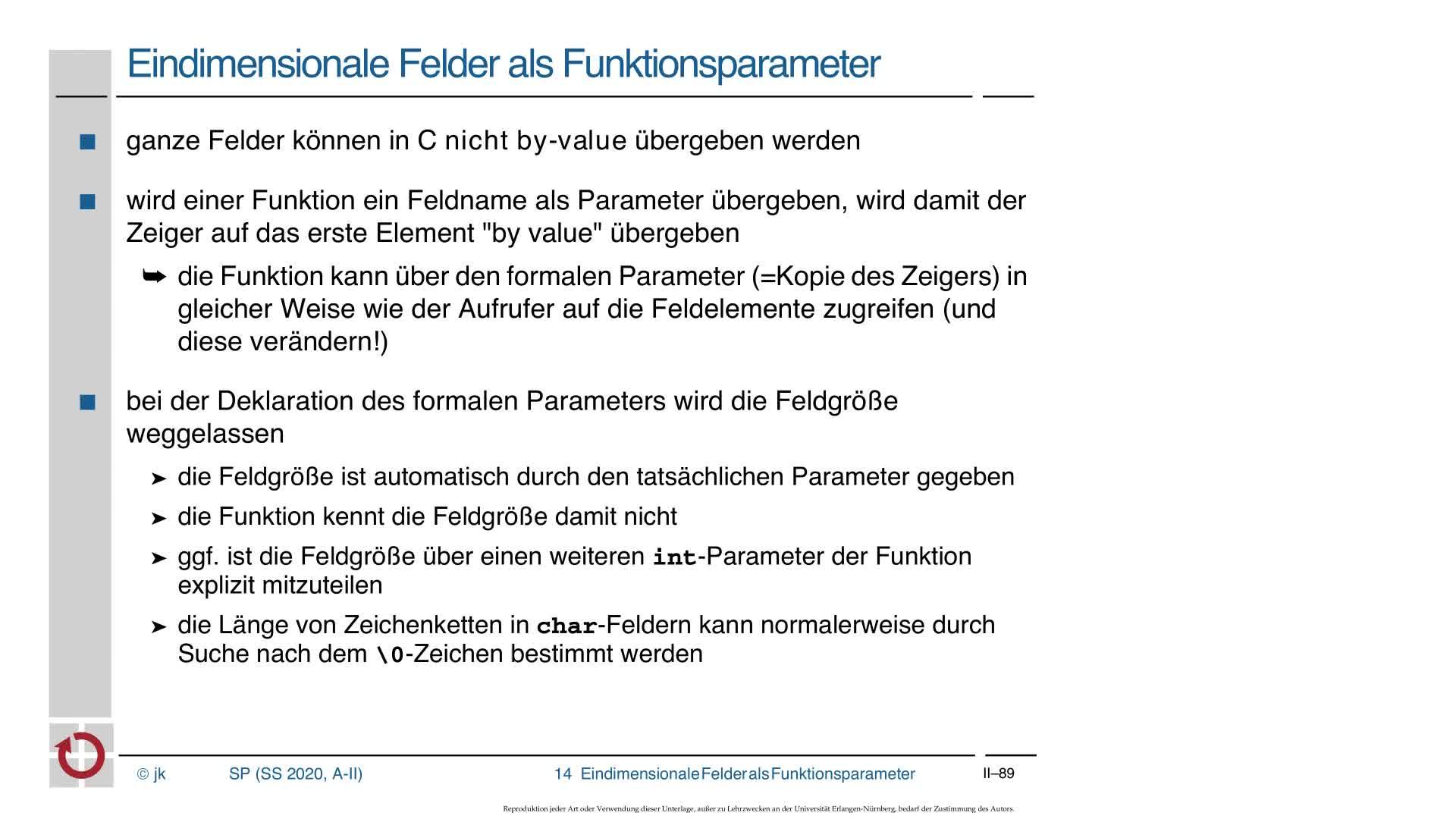 2.5.1 C-Kurzeinführung: Felder als Funktionsparameter preview image