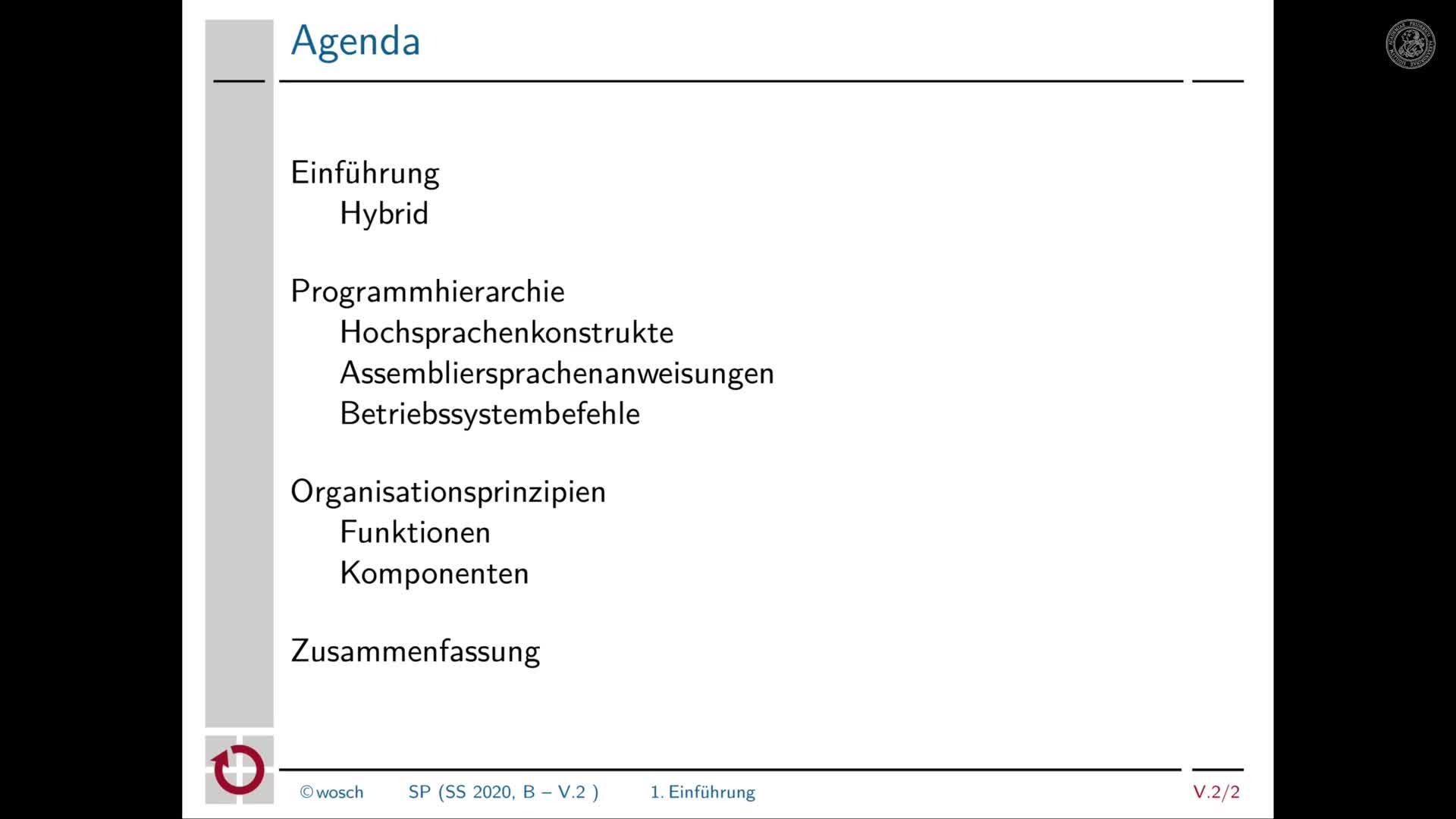 5.2.1 Rechnerorganisation: Begrüßung und Tagesordnung preview image