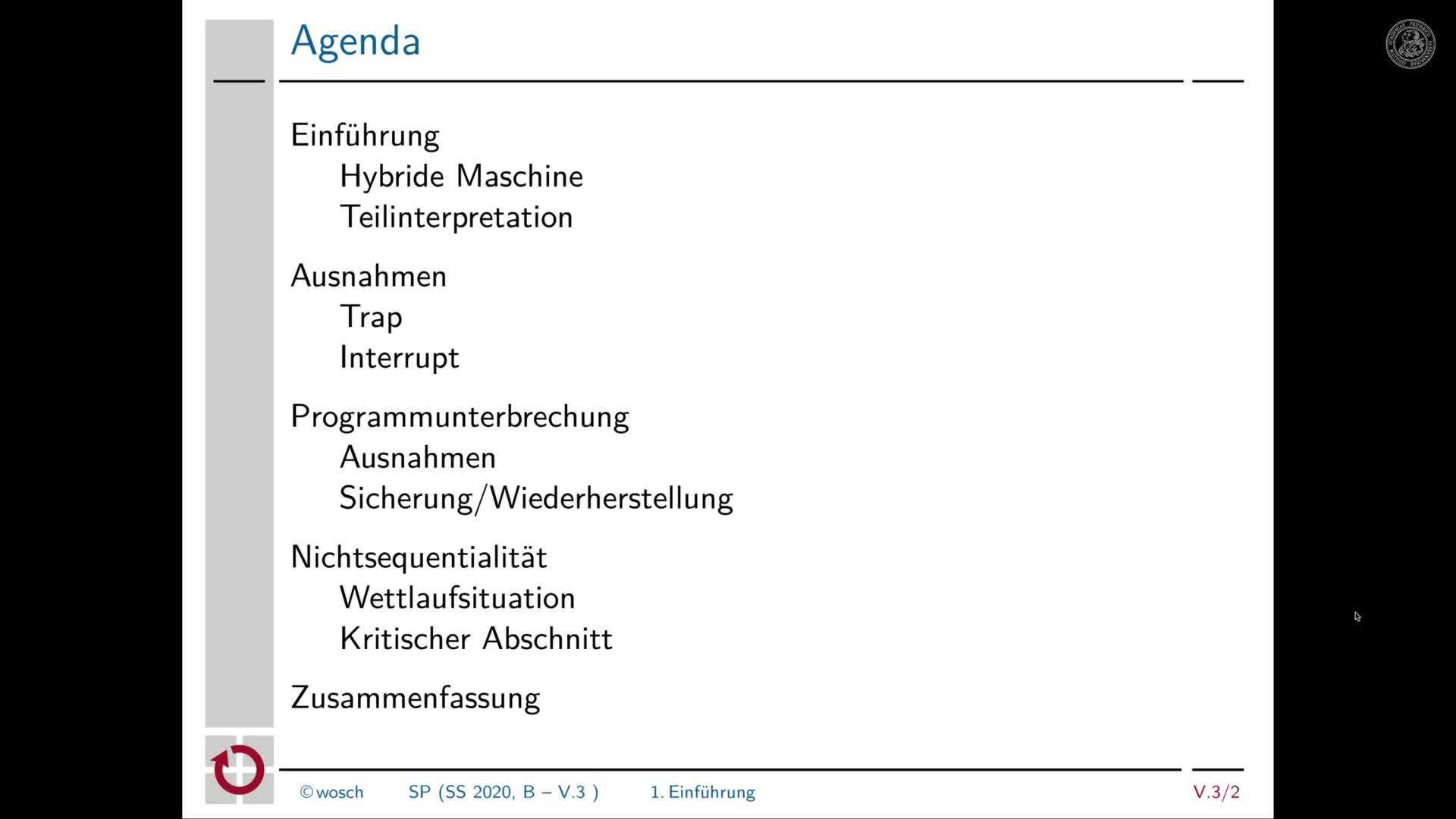 5.3.1 Rechnerorganisation: Begrüßung und Tagesordnung preview image