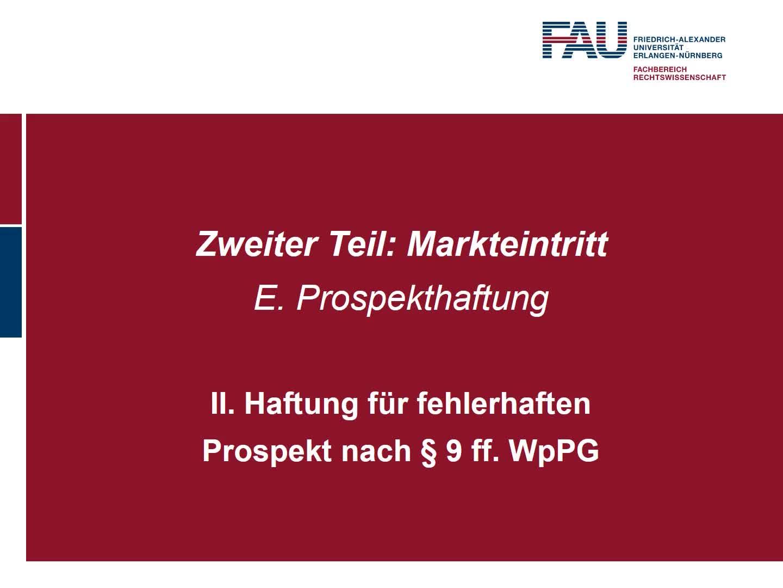 Haftung für fehlerhafte Prospekte nach § 9 ff. WpPG (2) preview image