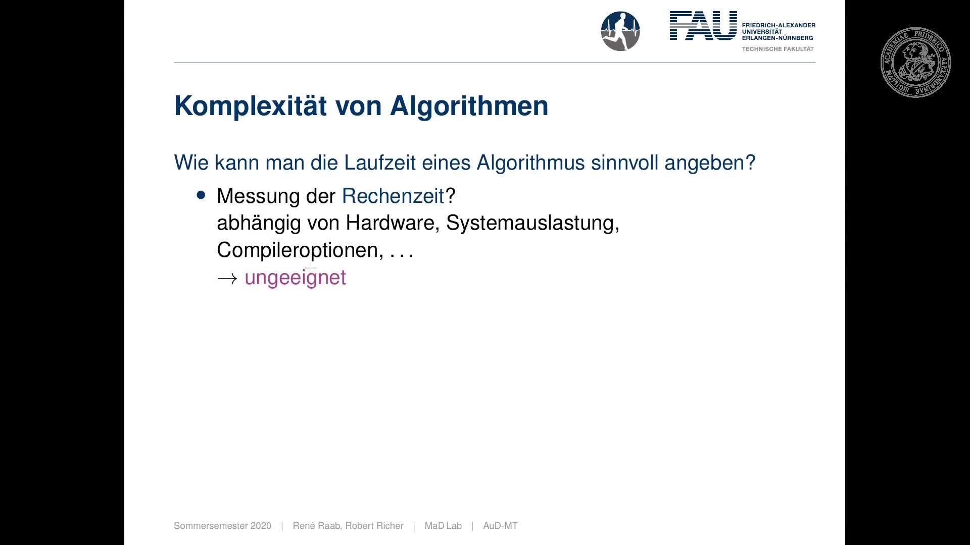 Algorithmen und Datenstrukturen (für Medizintechnik) Tafelübung preview image