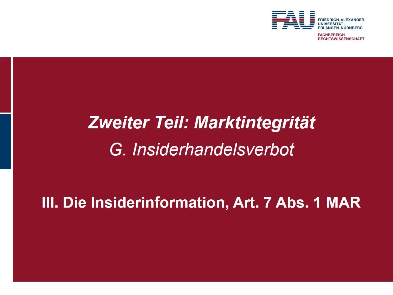 Die Insiderinformation, Art. 7 MAR (1) preview image