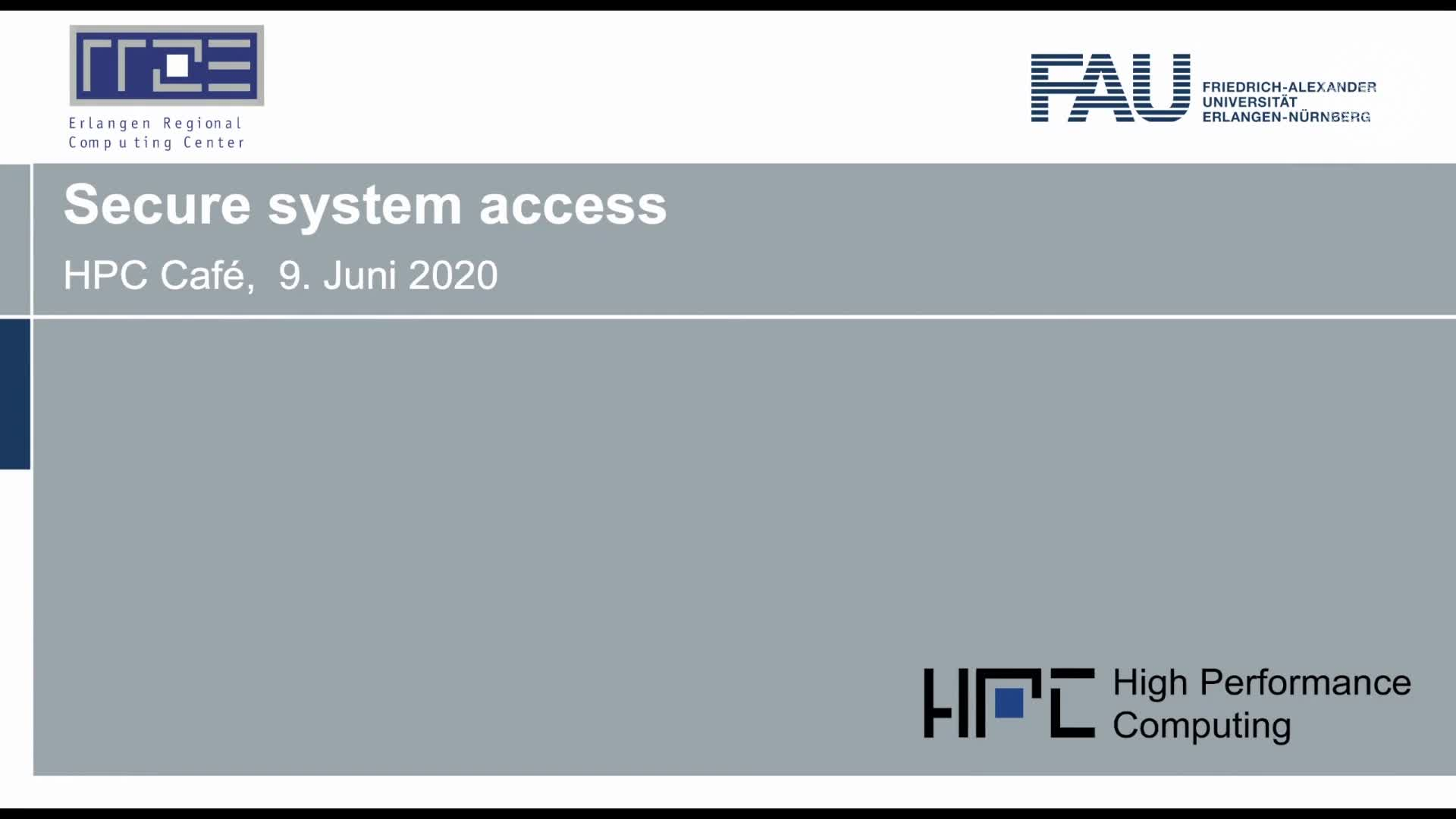 HPC-Cafe: Secure system access preview image