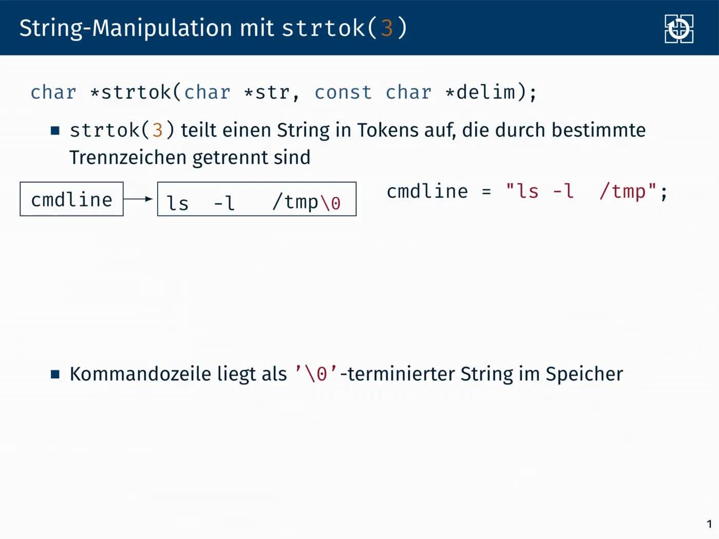 4.3 Prozesse: Stringmanipulation mit strtok(3) preview image
