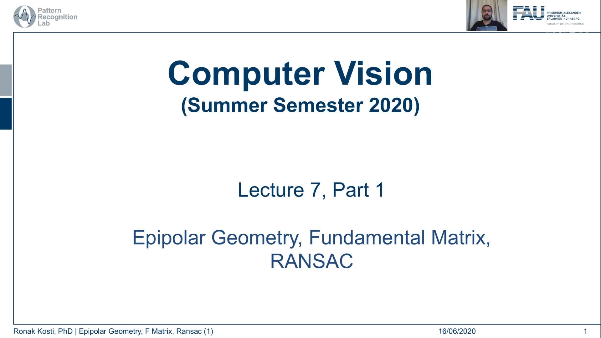 Epipolar Geometry and Ransac (Lecture 7, Part 1) preview image